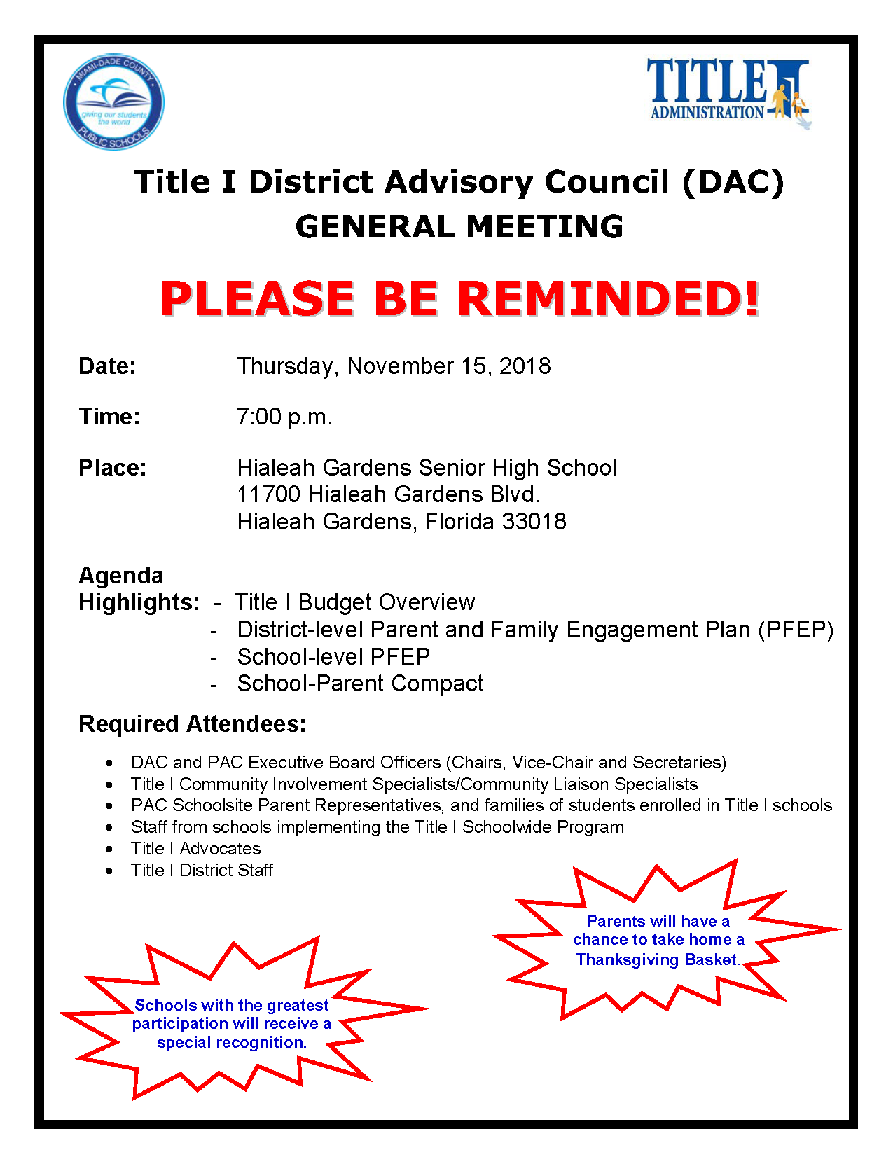 Title I District Advisory Council (DAC) GENERAL MEETING @ Hialeah Gardens Senior High School