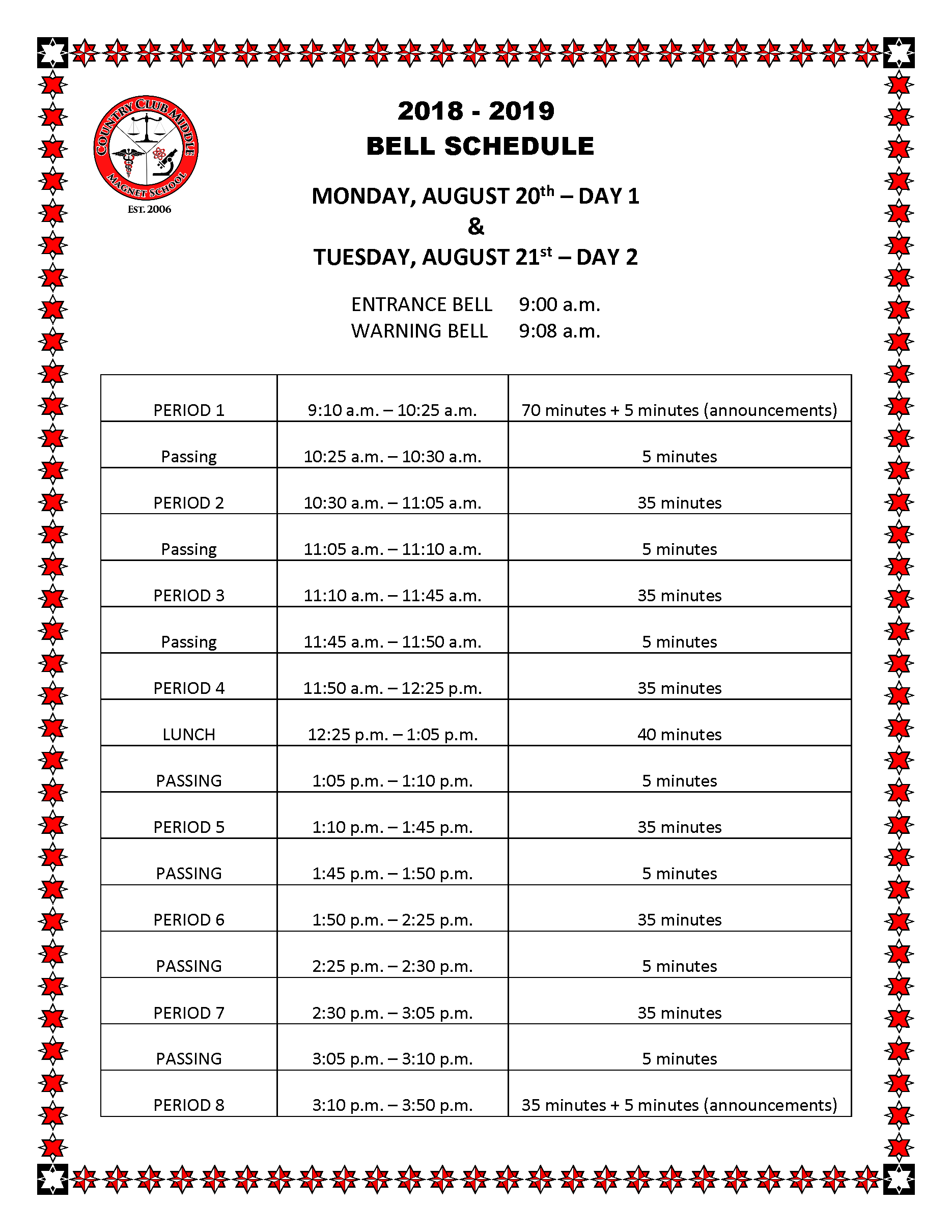 BELL SCHEDULE DAY 1 - 2 Country Club MS 2018-2019